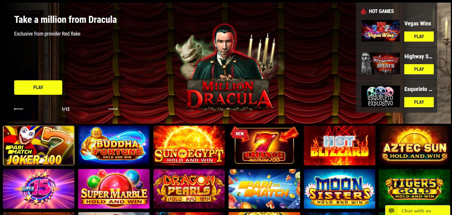 A variety of Parimatch Casino.